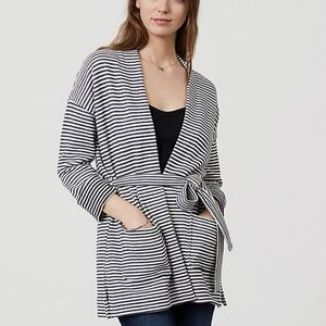 Ann Taylor LOFT Belted Stripe Cardigan